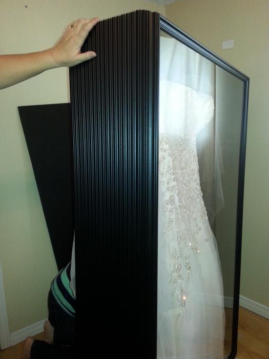 Framed wedding dress wedding dress decore ideas for Wedding dress display at home